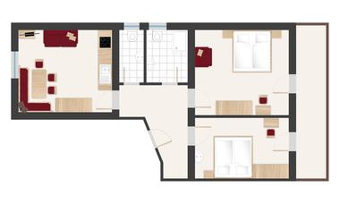 Pinzgerhof Fiss - Grundriss Wohnung 3